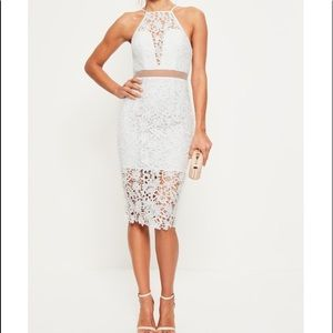 Misguided White Lace Mesh Dress